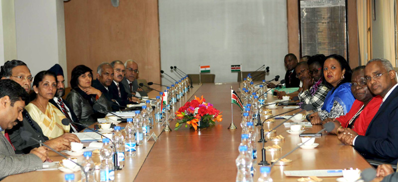 The Minister of State for Commerce & Industry (Independent Charge), Mrs. Nirmala Sitharaman presiding over the 7th Joint Trade Committee (JTC) meeting between India and Kenya, in New Delhi on February 12, 2015.
