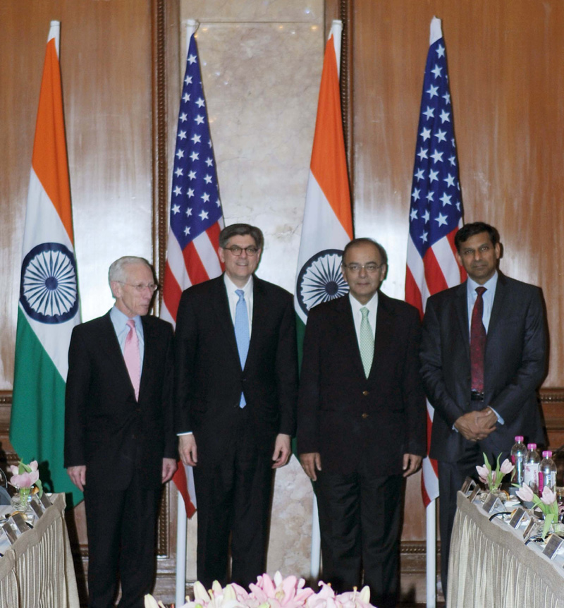 The Union Minister for Finance, Corporate Affairs and Information & Broadcasting, Mr. Arun Jaitley, the Governor of Reserve Bank of India, Mr.  Raghuram Rajan and the US Secretary for Treasury, Mr. Jacob Lew, at the 5th Indo-US Economic and Financial Partnership Dialogue, in New Delhi on February 12, 2015.