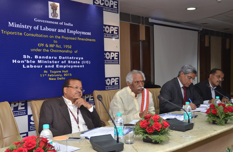The Minister of State for Labour and Employment (Independent Charge), Mr. Bandaru Dattatreya addressing at the Tripartite Consultation on the Proposed Amendments to the EPF & MP Act, 1952, in New Delhi on February 11, 2015.