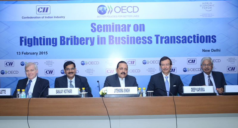 The Minister of State for Development of North Eastern Region (I/C), Prime Minister's Office, Personnel, Public Grievances & Pensions, Department of Atomic Energy, Department of Space, Dr. Jitendra Singh participated in a seminar on the 'Fighting Bribery in Business Transactions', in New Delhi on February 13, 2015. The Secretary, DoPT, Mr. Sanjay Kothari is also seen.