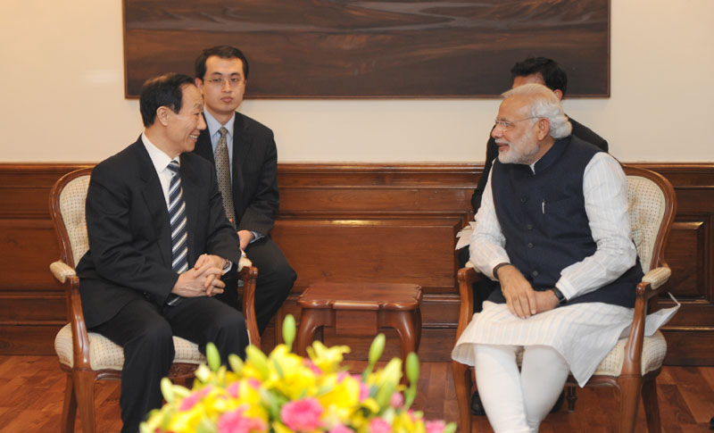 The Director of the International Department of the Central Committee of the Communist Party of China, Mr. Wang Jiarui calls on the Prime Minister, Mr. Narendra Modi, in New Delhi on February 13, 2015.