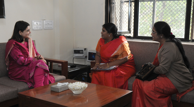 The Minister for Women Empowerment and Child Welfare, Govt. of Andhra Pradesh, Mrs. Peethala Sujatha meeting the Union Minister for Women and Child Development, Mrs. Maneka Sanjay Gandhi, in New Delhi on February 17, 2015.