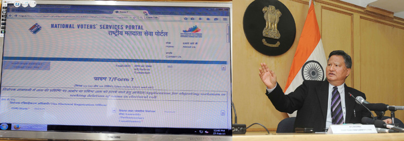 The Chief Election Commissioner, Mr. H.S. Bramha launching the National Voters' Service Portal, at the Curtain Raiser Press Conference on the project of seeding of Aadhar with Electoral Roll database, in New Delhi on February 26, 2015.