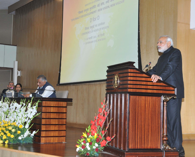 The Prime Minister, Mr. Narendra Modi delivering his address at Heads of Mission Conference, in New Delhi on February 07, 2015. The Union Minister for External Affairs and Overseas Indian Affairs, Mrs. Sushma Swaraj and the Minister of State for Statistics and Programme Implementation (I/C), External Affairs and Overseas Indian Affairs, General (Retd.) V.K. Singh are also seen.