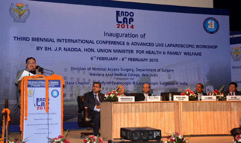 The Union Minister for Health & Family Welfare, Mr. Jagat Prakash Nadda addressing the ENDOLAP 2014- Third Biennial International Conference and Advanced Live Laparoscopic Workshop, in New Delhi on February 07, 2015.