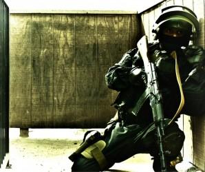 FSB Alpha team member of an elite anti terrorist commando hunting bad guys in Russia 2015. FSB