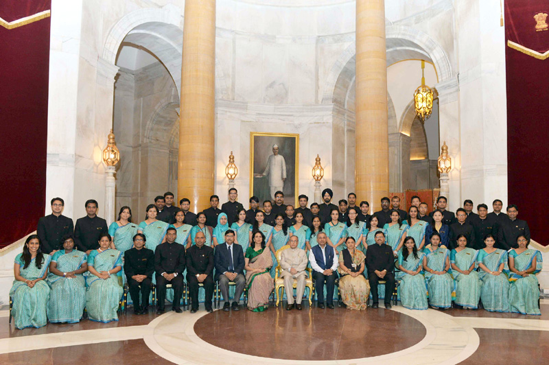 The President, Mr. Pranab Mukherjee with the OFFICER Trainees of 68th Batch of Indian Revenue Service from the National Academy of Direct Taxes (NADT), Nagpur, at Rashtrapati Bhavan, in New Delhi on March 13, 2015.