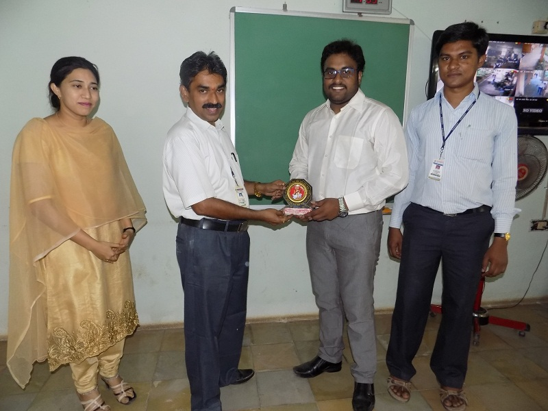 VITS Principal Dr. N Kumara Swamy presenting a memento to Mr. JK Shabarinath, Quality Control Manager, MTRS Engineering Private Limited Company, Singapore, in VITS, Proddatur on 16-03-2015.