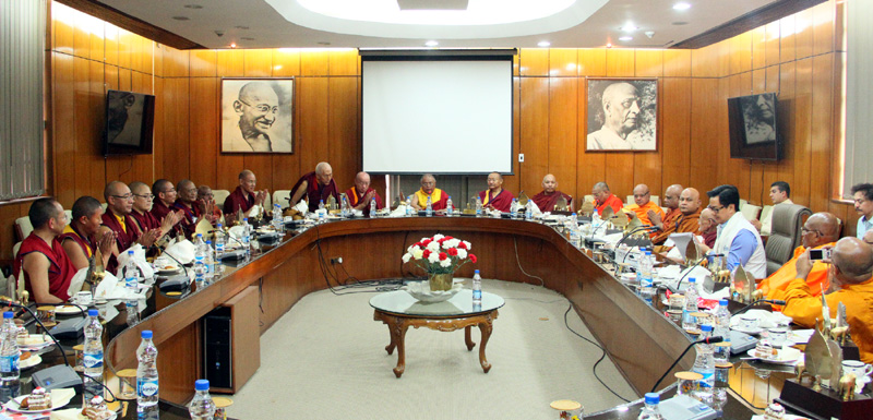 A delegation of top Buddhist Supreme Head and high ranking monks of Sri Lanka and Supreme Monks from Mahayana sect of India and Tibetan group meeting the Minister of State for Home Affairs, Mr. Kiren Rijiju, in New Delhi on March 19, 2015.