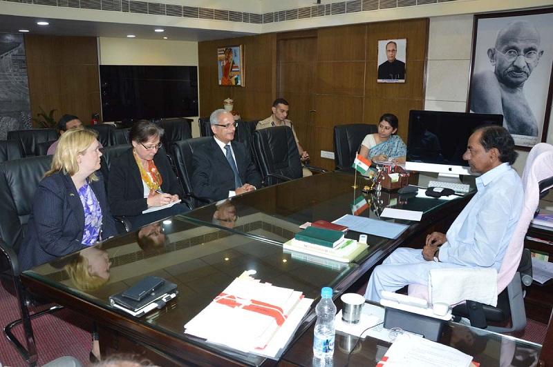 A delegation headed by Managing Director Mr. Raman Nagarajan of Sweden based company, Business & Green Technology Promotion, called on Chief Minister of Telangana Mr. K Chandrashekhar Rao at Secretariat, Hyderabad on 18-03-2015.