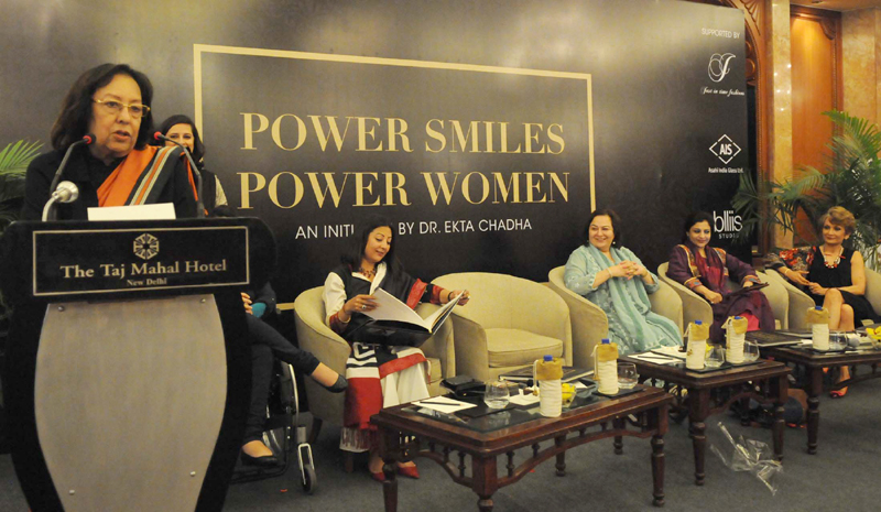 The Union Minister for Minority Affairs, Dr. Najma A. Heptulla addressing at the release of a book titled 'Power Smiles Power Women' by Dr. Ekta Chadha, in New Delhi on March 02, 2015.