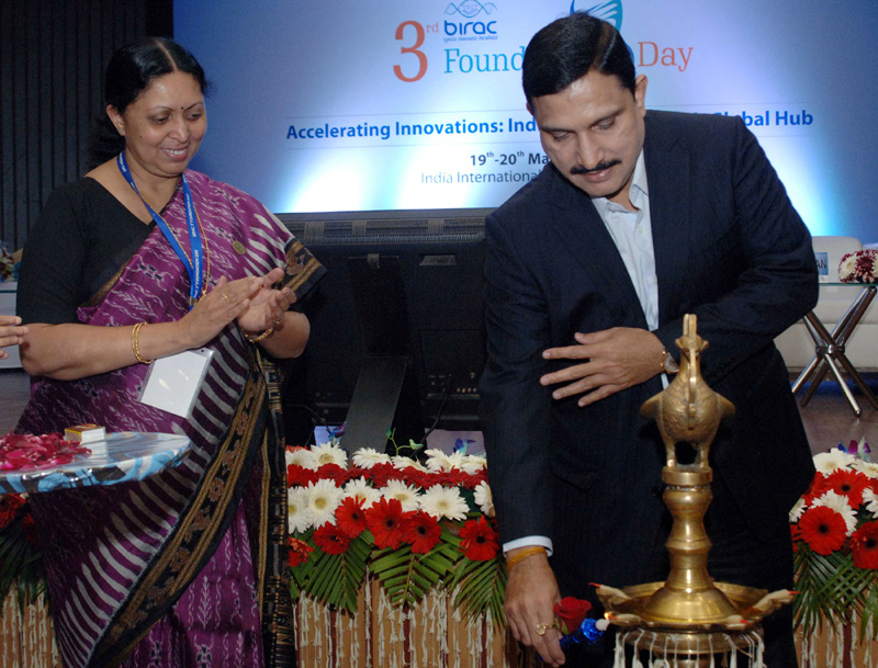 The Minister of State for Science and Technology and Earth Science, Mr. Y.S. Chowdary lighting the lamp to inaugurate the foundation day of BIRAC and panel discussions on the theme – Accelerating Innovations: India the Next Biotech Global Hub, in New Delhi on March 19, 2015.