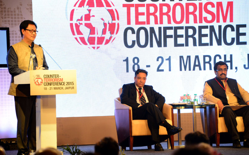 The Minister of State for Home Affairs, Mr. Kiren Rijiju addressing at the valedictory session of the International Counter-Terrorism Conference, at Jaipur, in Rajasthan on March 21, 2015.