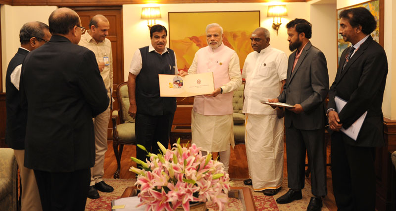 A delegation from the maritime sector led by Union Minister for Road Transport & Highways and Shipping, Mr. Nitin Gadkari meeting the Prime Minister, Mr. Narendra Modi on the National Maritime Day, in New Delhi on March 30, 2015. The Minister of State for Road Transport & Highways and Shipping, Mr. P. Radhakrishnan is also seen.