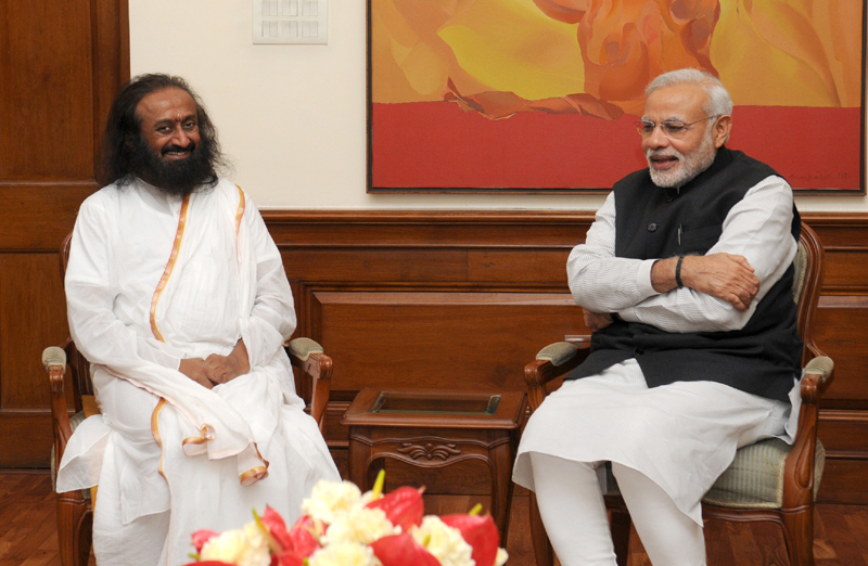 Sri Sri Ravi Shankar calls on the Prime Minister, Mr. Narendra Modi, in New Delhi on March 03, 2015.