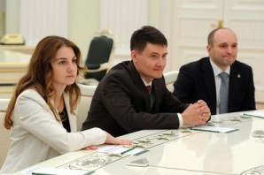 Laureates of the 2014 Presidential Prize in Science and Innovation for Young Scientists: Irina Didenkulova, Nikita Kuznetsov and Vitaly Danilenko.