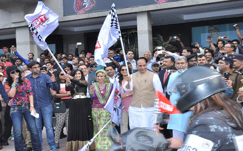 The Union Home Minister, Mr. Rajnath Singh flagging off a Bike Rally on the occasion of the International Women's Day, in New Delhi on March 08, 2015.
