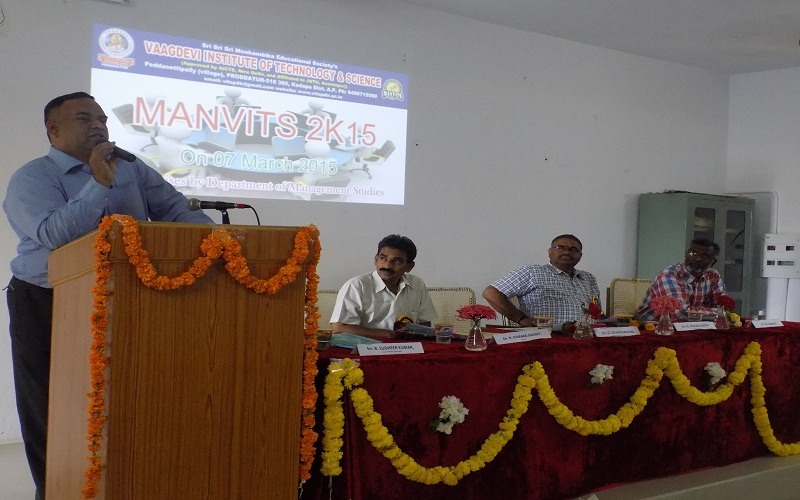 LIC Chief Branch Manager Mr. Swaminathan addressing at National Level Management Meet (Manvits-2K15) in VITS, Proddatur on 07-03-2015.