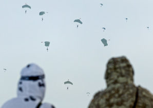 Pictured here is a picture of Russian Airborne Troops landing on ice flows in the Arctic Ocean.