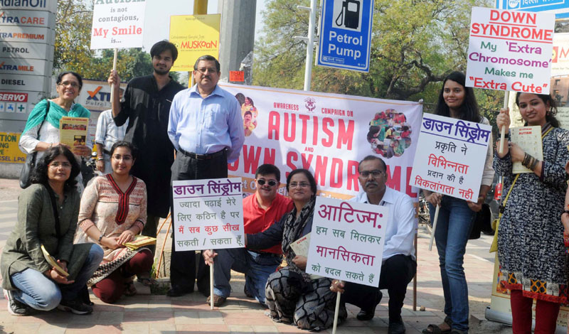 The Secretary, Department of Empowerment of Persons with Disabilities, Mr. Lov Verma on awareness campaign at Traffic Junctions, on the occasion of the World Down Syndrome Day & World Autism Awareness Day, in New Delhi on March 31, 2015.