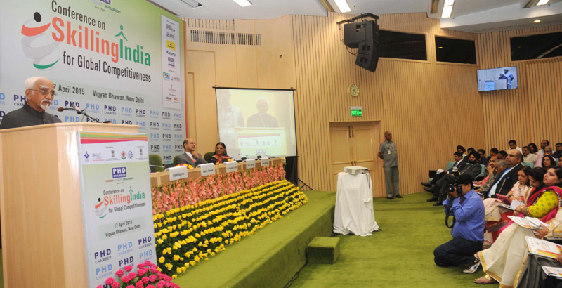 "The Vice President, Mr. Mohd. Hamid Ansari addressing the ""Conference on Skilling India for Global Competitiveness"", organised by the PHD Chamber, in New Delhi on April 17, 2015."