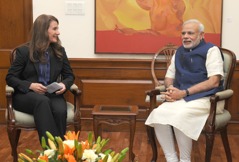 Ms. Melinda Gates, Co-founder of the Bill & Melinda Gates Foundation meeting the Prime Minister, Mr. Narendra Modi, in New Delhi on April 20, 2015.