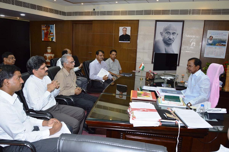 Chief Minister of Telangana Mr. K Chandrashekhar Rao in a review meeting on Health Department with the concerned officials at Secretariat on 21.04.2015.
