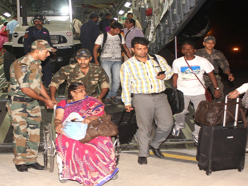 Indians evacuated from Earthquake hit Nepal by the C-17 Globemaster- III of the Indian Air Force, in New Delhi on April 26, 2015.