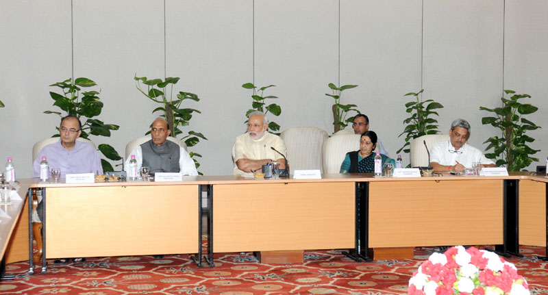 The Prime Minister, Mr. Narendra Modi chairing follow-up meeting to review the situation following earthquake in Nepal, in New Delhi on April 26, 2015.