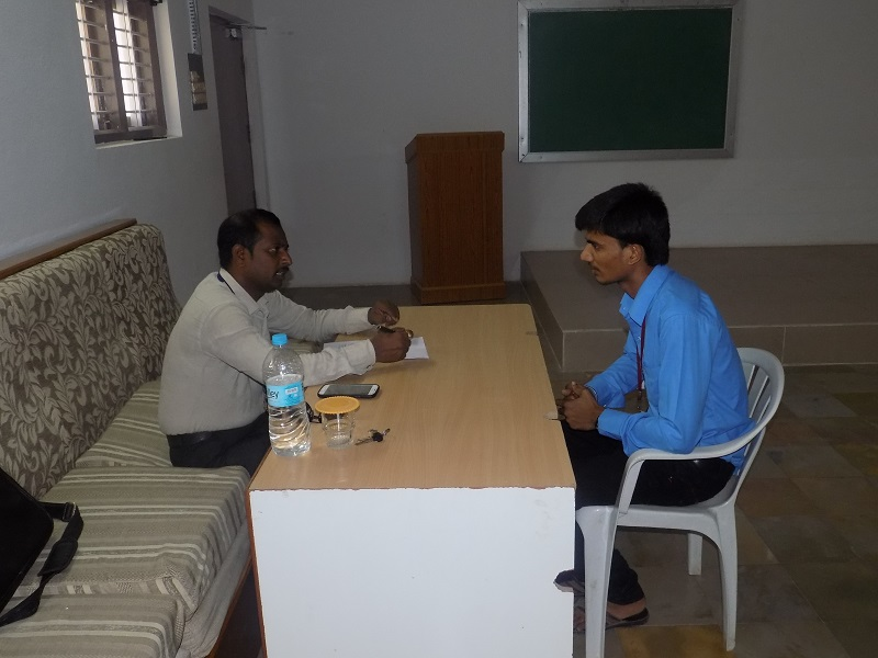 Brach Manager of SBI Life Insurance Mr. BV Raghavulu interviewing a student of MBA for the position of Financial Advisor, in VITS Campus Placement Drive, Proddatur on 28-04-2015.