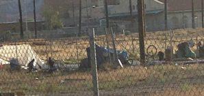 Homeless encampment in downtown Phoenix, Arizona on May 13, 2015.