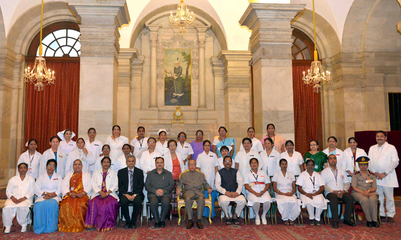 The President, Mr. Pranab Mukherjee presented the Florence Nightingale Awards 2015 to meritorious nursing personnel, on the occasion of the International Nurses Day, at Rashtrapati Bhavan, in New Delhi on May 12, 2015. The Union Minister for Health & Family Welfare, Mr. Jagat Prakash Nadda and the Minister of State for AYUSH (Independent Charge) and Health & Family Welfare, Mr. Shripad Yesso Naik are also seen.