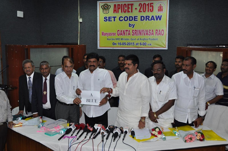 HRD Minister of Andhra Pradesh Mr. Ganta Srinivasa Rao Releasing API Cet -2015 Set Code Draw at AU Jubillee Guest House in Visakhapatnam on 16-05-2015.