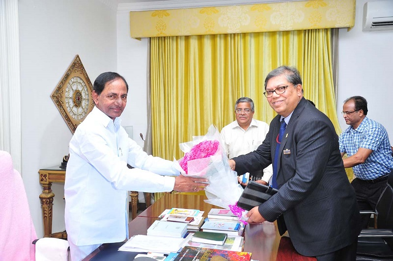 CMD of NTPC Mr. Arup Roy calling on the Chief Minister of Telangana Mr. K Chandrashekhar Rao at Chief Minister Camp office on 25-05-2015.