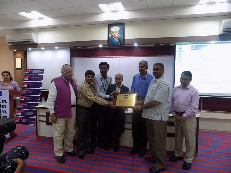VITS Correspondent Mr. G Hussain Reddy receiving the award from Mr. K. Lal Kishor, Vice Chancellor (Jawaharlal Nehru Technological University, Anantapuram), Mr. Subbarao Ghanta, Secretary (Skill Development & MD & CEO of Andhra Pradesh State Skill Development Corporation (APSSDC), Govt. of India) at 'The IInd National Andhra Pradesh Summit & Awards 2015' function held in Hyderabad on May 28, 2015.