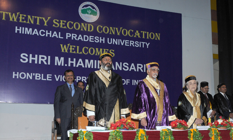 The Vice President, Mr. Mohd. Hamid Ansari at the 22nd Convocation of Himachal Pradesh University, in Shimla, Himachal Pradesh on June 09, 2015.