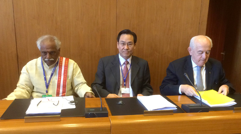 The Minister of State for Labour and Employment (Independent Charge), Mr. Bandaru Dattatreya at the BRICS meeting, in Geneva on June 10, 2015.