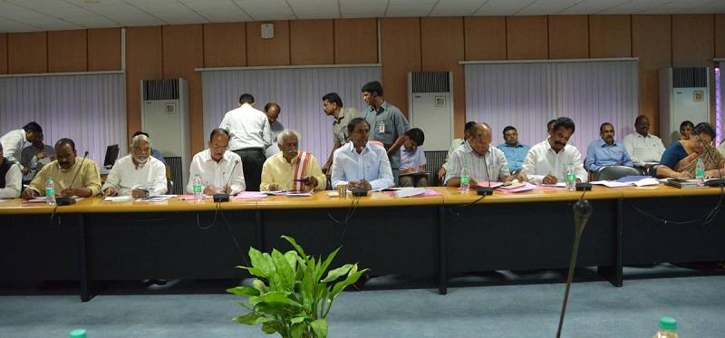 Telangana Chief Minister Mr. K Chandrasekhar Rao participation in a meeting on Hyderabad City on 20-06-2015. Union Labor & Employment Minister Mr. Bandaru Dattatreya, Cabinet Ministers and Officials are also seen.