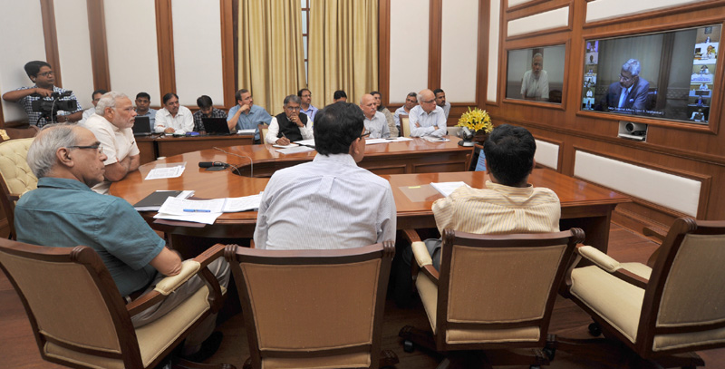 The Prime Minister, Mr. Narendra Modi chairing fourth interaction through PRAGATI – an ICT-based platform for Pro-Active Governance & Timely Implementation, in New Delhi on June 24, 2015.