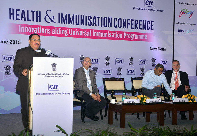 The Union Minister for Health & Family Welfare, Mr. J.P. Nadda delivering the keynote address at the Health and Immunization Conference, organised by CII, in New Delhi on June 30, 2015.