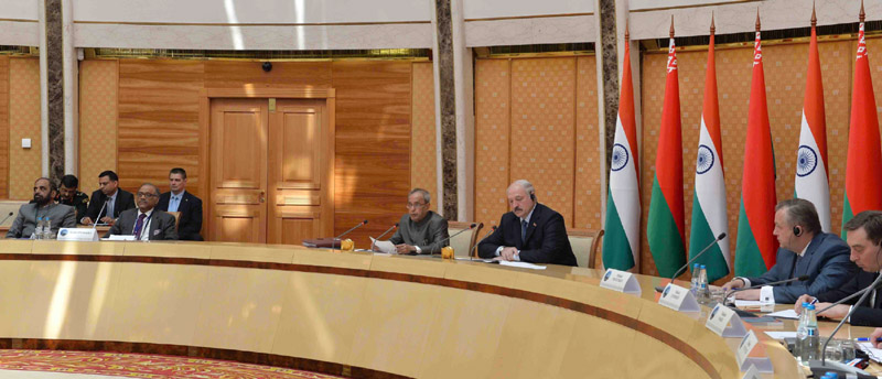 The President, Mr. Pranab Mukherjee addressing at the Business meeting at National Library, at Minsk, in Belarus on June 04, 2015.