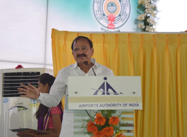 The Union Minister for Urban Development, Housing and Urban Poverty Alleviation and Parliamentary Affairs, Mr. M. Venkaiah Naidu addressing the gathering at the opening ceremony of KADAPA Airport, Andhra Pradesh on June 07, 2015.
