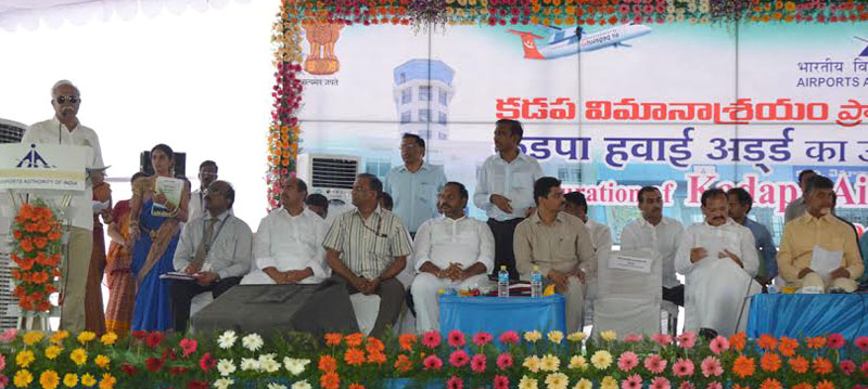 The Union Minister for Civil Aviation, Mr. Ashok Gajapathi Raju Pusapati addressing the gathering at the opening ceremony of KADAPA Airport, Andhra Pradesh on June 07, 2015. The Union Minister for Urban Development, Housing and Urban Poverty Alleviation and Parliamentary Affairs, Mr. M. Venkaiah Naidu, the Chief Minister of Andhra Pradesh, Mr. N. Chandrababu Naidu and other dignitaries are also seen.