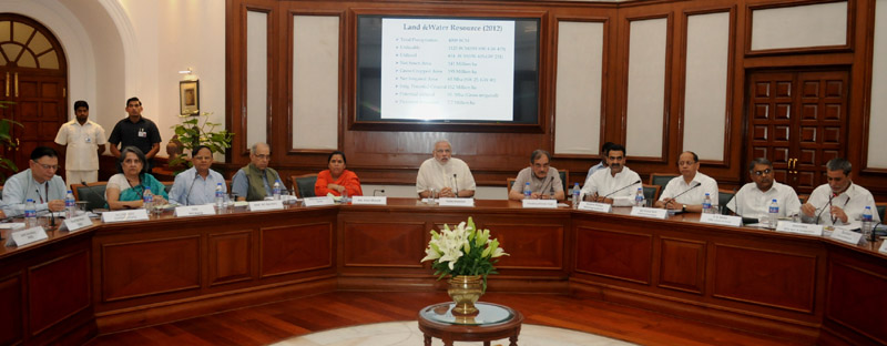 The Prime Minister, Mr. Narendra Modi chairing a high-level meeting for quick adoption of a multi-pronged strategy to augment the country's irrigation network, in New Delhi on June 08, 2015.