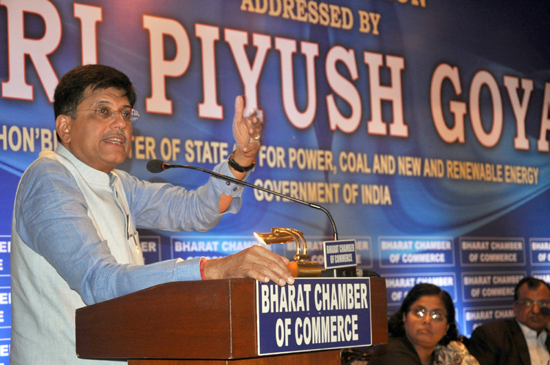 The Minister of State (Independent Charge) for Power, Coal and New and Renewable Energy, Mr. Piyush Goyal addressing the Special Session of the Bharat Chamber of Commerce, in Kolkata on July 03, 2015.